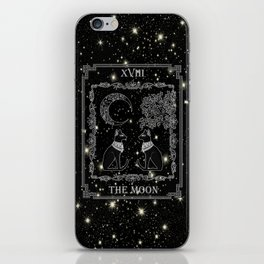 "Tarot ""The Moon"" - silver- cat version iPhone Skin"