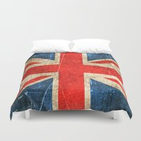 british flag Duvet Covers featuring Vintage Aged and Scratched British Flag by Jeff Bartels