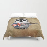 british flag Duvet Covers featuring Baby Penguin Playing Union Jack British Flag Guitar by Jeff Bartels