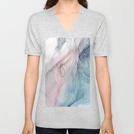 Calming Pastel Flow- Blush, grey and blue Unisex V-Neck