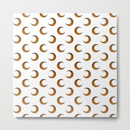 Pumpkin Orange Crescent Halloween Moons On Ghost White Metal Print