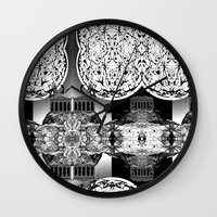 buildings Wall Clocks featuring Buildings by Spew Jersey