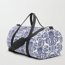 damask blue and white Duffle Bag