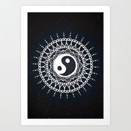 Yin Yang Mandala / White Mandala over stars Art Print