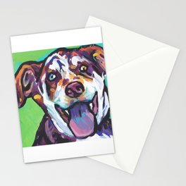Fun Catahoula Leopard Dog bright colorful Pop Art painting by Lea Stationery Cards