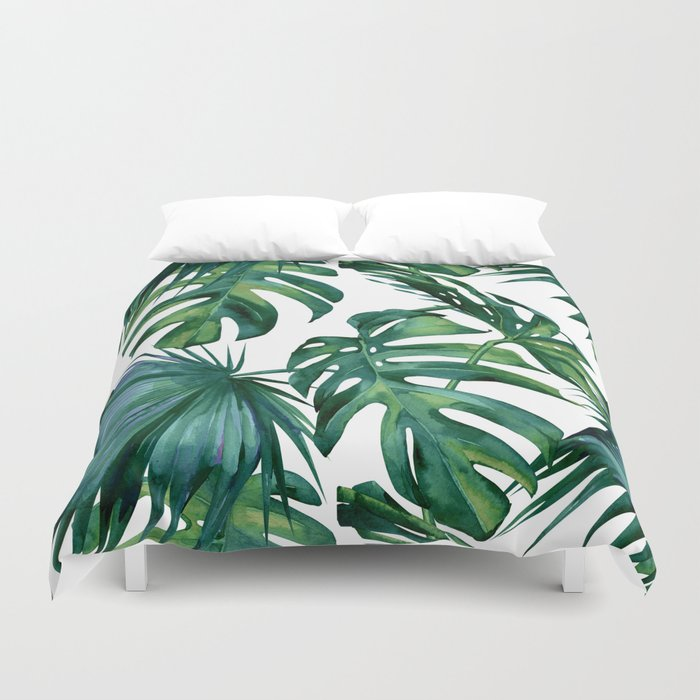 Classic Palm Leaves Tropical Jungle Green Duvet Cover By