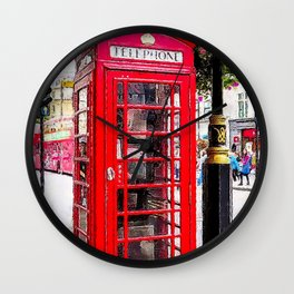 London England - Red Telephone Booth - Telephone Box Wall Clock