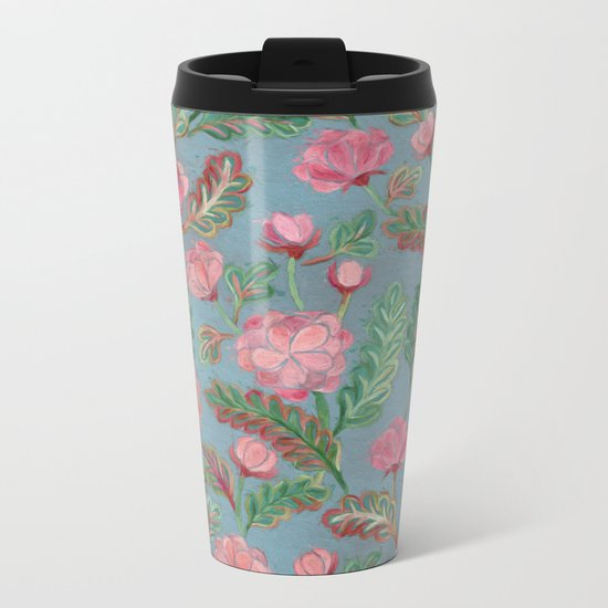 Soft Smudgy Pink and Green Floral Pattern Metal Travel Mug
