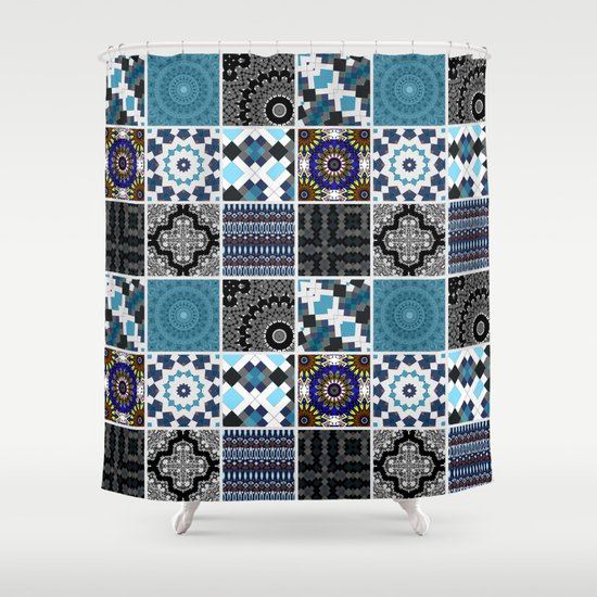 Patchwork Blue Black And Grey Shower Curtain By