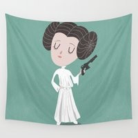 leia Wall Tapestries featuring Leia  by Rod Perich