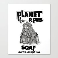 planet of the apes Canvas Prints featuring Planet of the Apes Soap by peter glanting