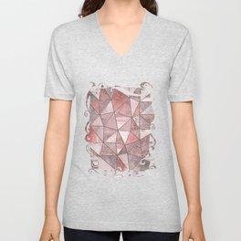 Soft Pink Coral Glamour Gemstone Triangles Unisex V-Neck
