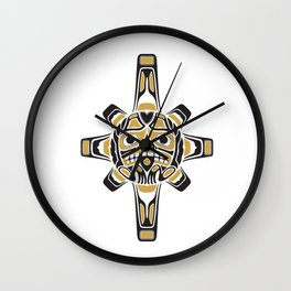 Northwest Pacific American Native Totem In Gold No.3 Wall Clock
