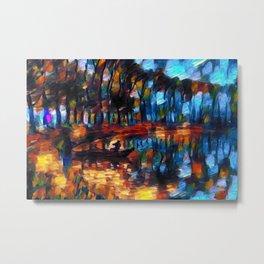Night Fishing on the Poplar Pond landscape by Prefect Severino Metal Print