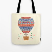 hot air balloon Tote Bags featuring Hot Air Balloon by haidishabrina