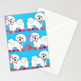 Bichon Frise Floral Stationery Cards