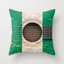 Old Vintage Acoustic Guitar with Nigerian Flag Throw Pillow