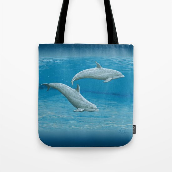 """""""Sandscape"""" by Amber Marine ~ Dolphin Art ~ Acrylic Painting, (c) 2014 Tote Bag"""