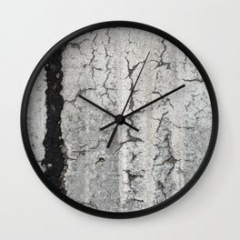 Urban Texture Photography - White Painted Asphalt Wall Clock