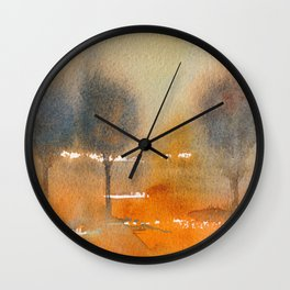 """MISTY AUTUMN TREES"" Original Watercolor Painting by Doreen Koch Allen Wall Clock"