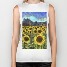 Sunflower Fields Of Summer Van Goth Biker Tank