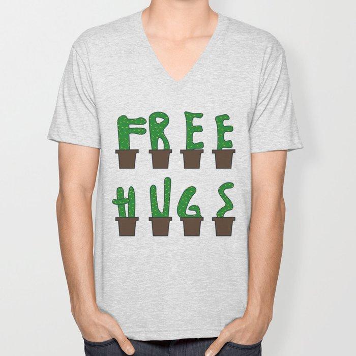 Kaktus free hugs hug me plant stin prickly saying funny gift idea Unisex V-Neck