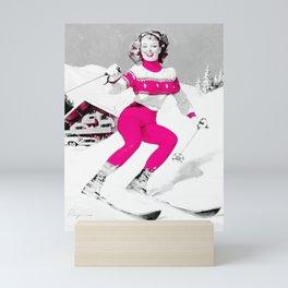 Snow Bunny Pin Up Girl Pink Mini Art Print