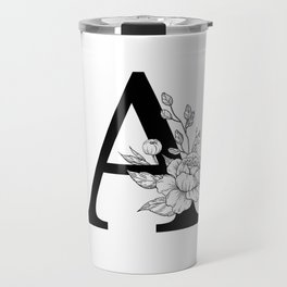A botanical monogram. Letter initial with peonies Travel Mug