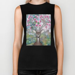white tailed deer, black throated blue warblers, & magnolia blossoms Biker Tank