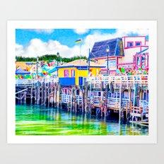Old Fisherman's Wharf - Monterey California Art Print