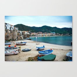 Boats on Beach at Cefalu Italy Canvas Print