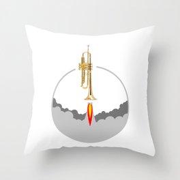 Trumpet Rocket Throw Pillow