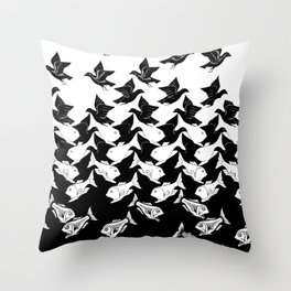 fish and birds tessellation art deco Throw Pillow