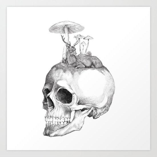 Mushroom B&W Art Print