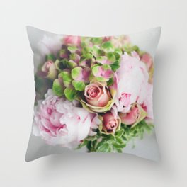 Wedding Bouquet - Roses, Peonies & other loveliness Throw Pillow
