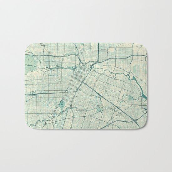 Houston Map Blue Vintage Bath Mat