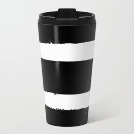 Black & White Paint Stripes by Friztin Travel Mug
