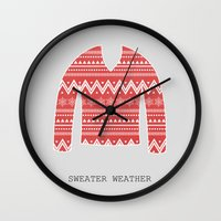sweater Wall Clocks featuring SWEATER WEATHER by Allyson Johnson