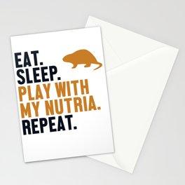 Eat Sleep Nutria Repeat Nutria Coypu Myocastor Rodent Stationery Cards