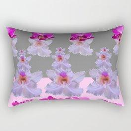 PURPLE  FUCHSIA ORCHIDS  SPRINKLES ON  GREY-PINK ART Rectangular Pillow