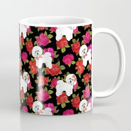 Bichon Frise dogs red rose floral for dog lovers Coffee Mug
