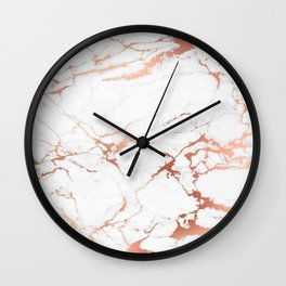 White rose-gold marble Wall Clock