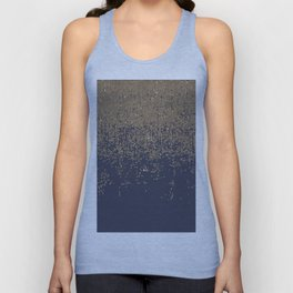 Navy Blue Gold Sparkly Glitter Ombre Unisex Tank Top