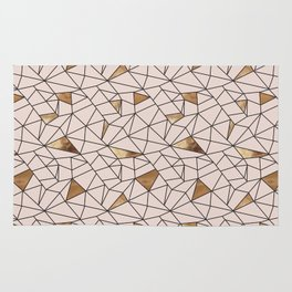 Modern abstract blush pink faux gold geometrical Rug