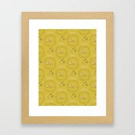 Mustard Yellow Leaf Wreath Circle Berry Branch Framed Art Print