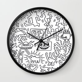 Sketches homage to Keith Haring White Wall Clock