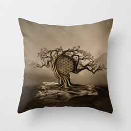 Flower of Life Tree Golden Morning Throw Pillow