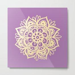 Purple and Gold Mandala Metal Print