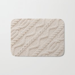 Beige Cableknit Sweater Bath Mat