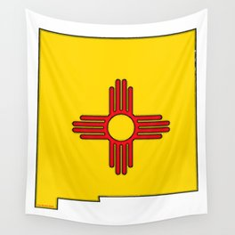 New Mexico Map with State Flag Wall Tapestry